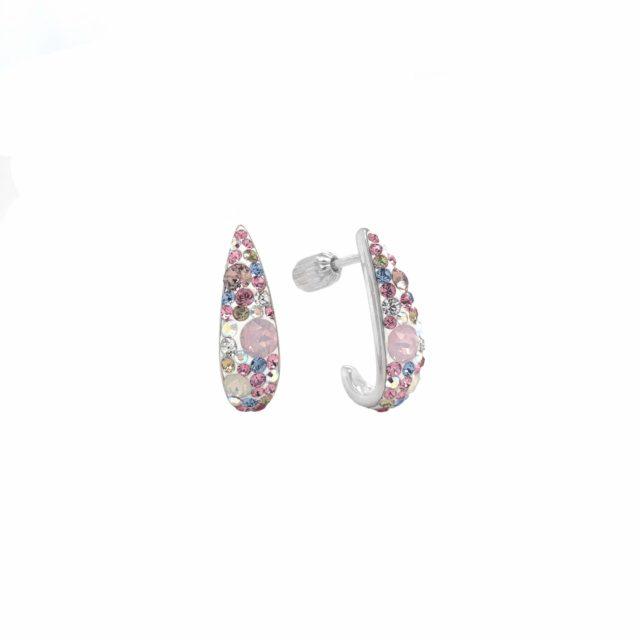 Stříbrné náušnice visací s krystaly Swarovski růžový půlkruh 31173.3 magic rose