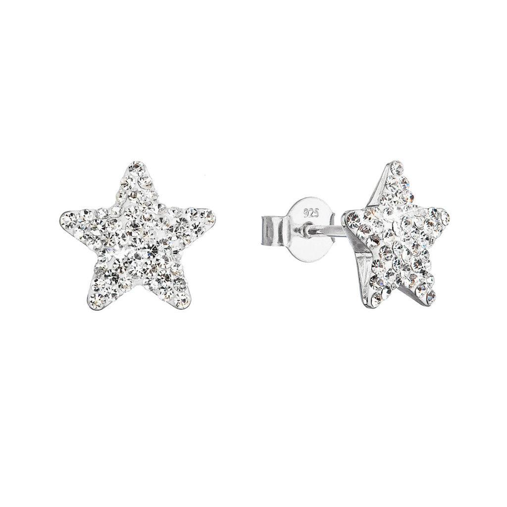 Stříbrné náušnice pecky s Preciosa krystaly bílé hvězdičky 31312.1